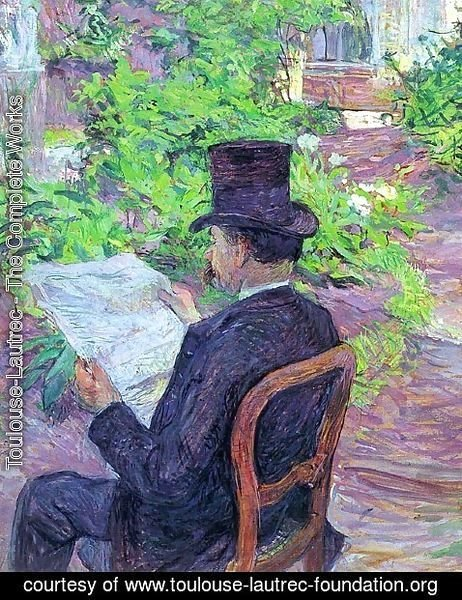 Toulouse-Lautrec - Desire Dihau Reading a Newspaper in the Garden 1890