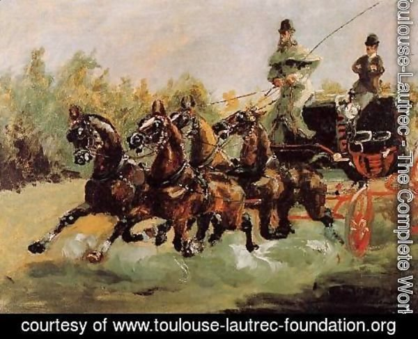 Toulouse-Lautrec - Alphonse de Toulouse-Lautrec Driving His Four-in-Hand