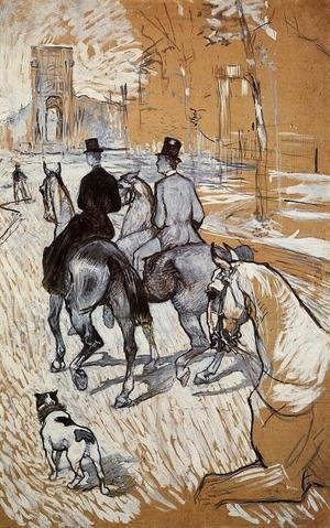 Toulouse-Lautrec - Horsemen Riding in the Bois de Boulogne