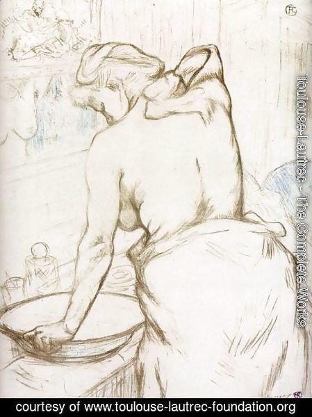 Toulouse-Lautrec - Elles: Woman at Her Toilette, Washing Herself
