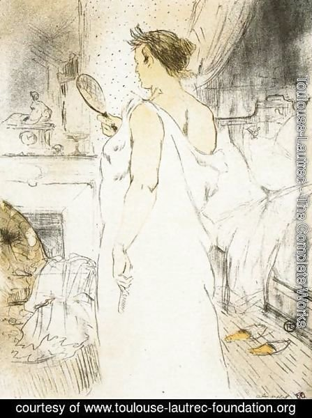 Toulouse-Lautrec - Elles: Woman Looking into a Hand Held Mirror