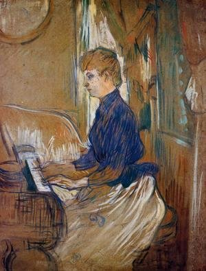 Toulouse-Lautrec - At the Piano - Madame Juliette Pascal in the Salon of the Chateau de Malrome