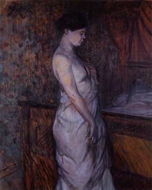 Woman in a Chemise Standing by a Bed