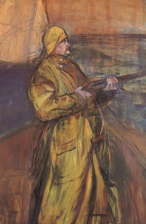 Toulouse-Lautrec - Maurice Joyant with a shotgun