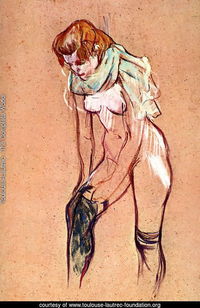 Woman Pulling up Her Stockings (study)