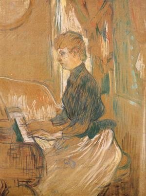 Toulouse-Lautrec - At the Piano Madame Juliette Pascal in the Drawing Room of the Chateau de Malrome 1896