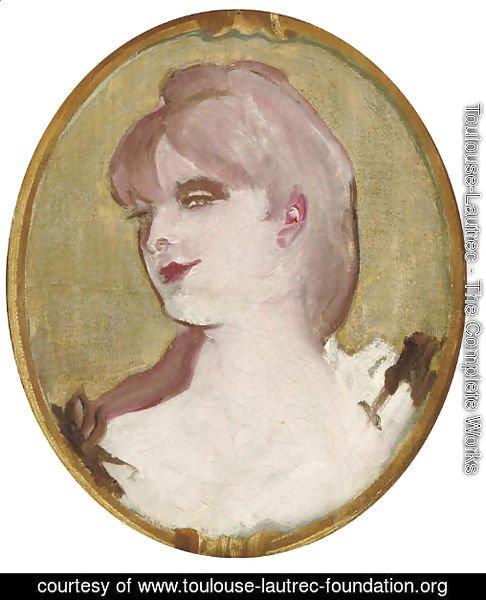 Portrait De Femme Medaillon Pour La Decoration Du Salon De La Maison De La Rue D Amboise Paris 2 By Toulouse Lautrec Oil Painting Toulouse Lautrec Foundation Org