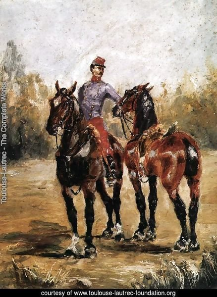 Two Horses with Soldier