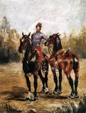 Toulouse-Lautrec - Two Horses with Soldier