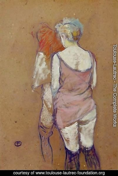 Two Half Naked Women Seen From Behind In The Rue Des Moulins Brothel