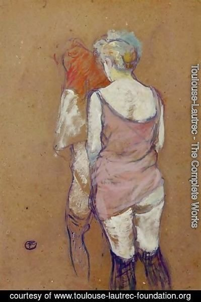 Toulouse-Lautrec - Two Half Naked Women Seen From Behind In The Rue Des Moulins Brothel