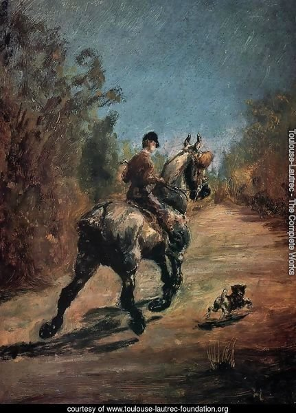 Horse And Rider With A Little Dog